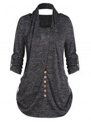 Marled Roll Up Sleeve Buttons T Shirt -