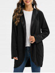 Hooded Double Pockets Open Front Solid Coat -