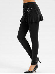 Buckle Ruffle Skirted Pants -
