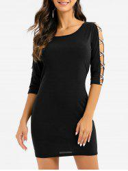 Half Sleeve Cut Out Criss-cross Sheath Dress -