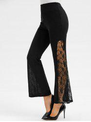 Lace Panel Elastic Waist Flare Pants -