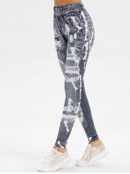 Butterfly Ripped Print Skinny Jeggings -