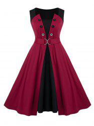 Plus Size Colorblock D Ring Pin Up Dress -