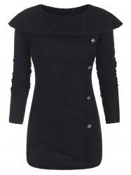 Mock Buttons Long Sleeves Capelet Knitwear -
