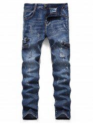 Ripped Zipper Scratch Painting Dots Jeans -