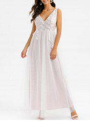 Floral Embroidered Lace Overlay Low Cut Maxi Prom Dress -