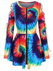 Full Zip Rainbow Tie Dye Lace Up Plus Size Top -