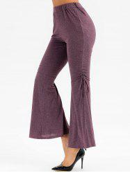High Waisted Heathered Cinched Flare Pants -