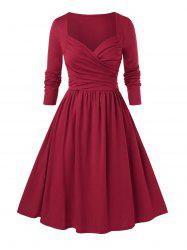 Plus Size Sweetheart Neck Ruched Pin Up Dress -