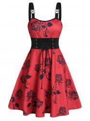 Floral Print Rhinestone Buckle Lace Up Cami Dress -