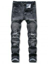 Pleated Patchwork Ripped Jeans -