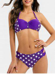 Halter Polka Dot Print Bow Cur Out Bikini Swimsuit -