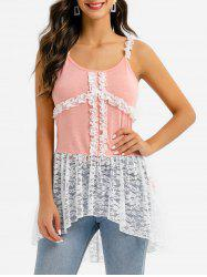 Frilled Lace Panel High Low Tank Top -