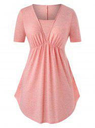 Plus Size Heathered Ruched Long Tunic T Shirt -