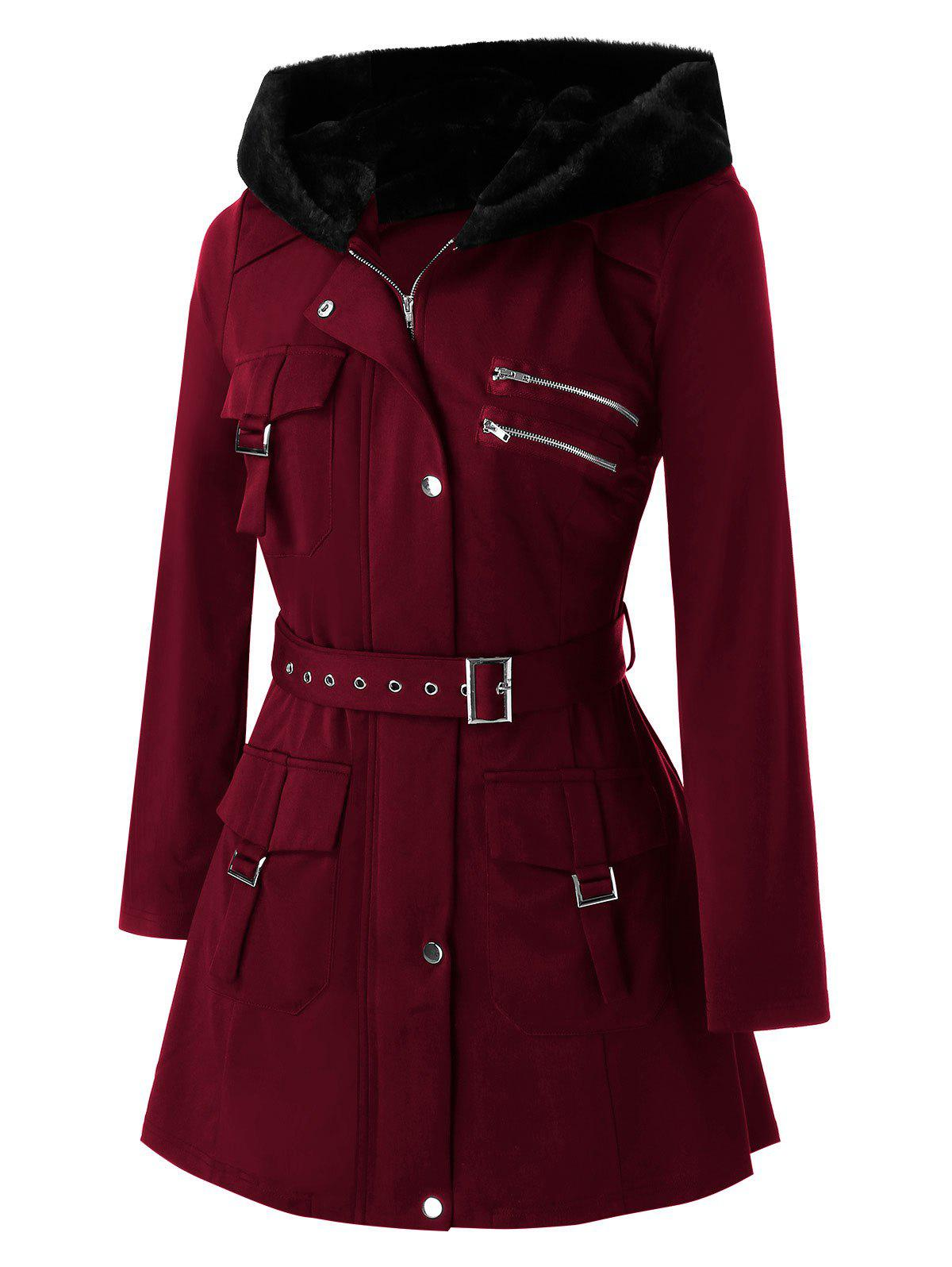 Affordable Plus Size Pockets Zippered Buckles Belted Coat
