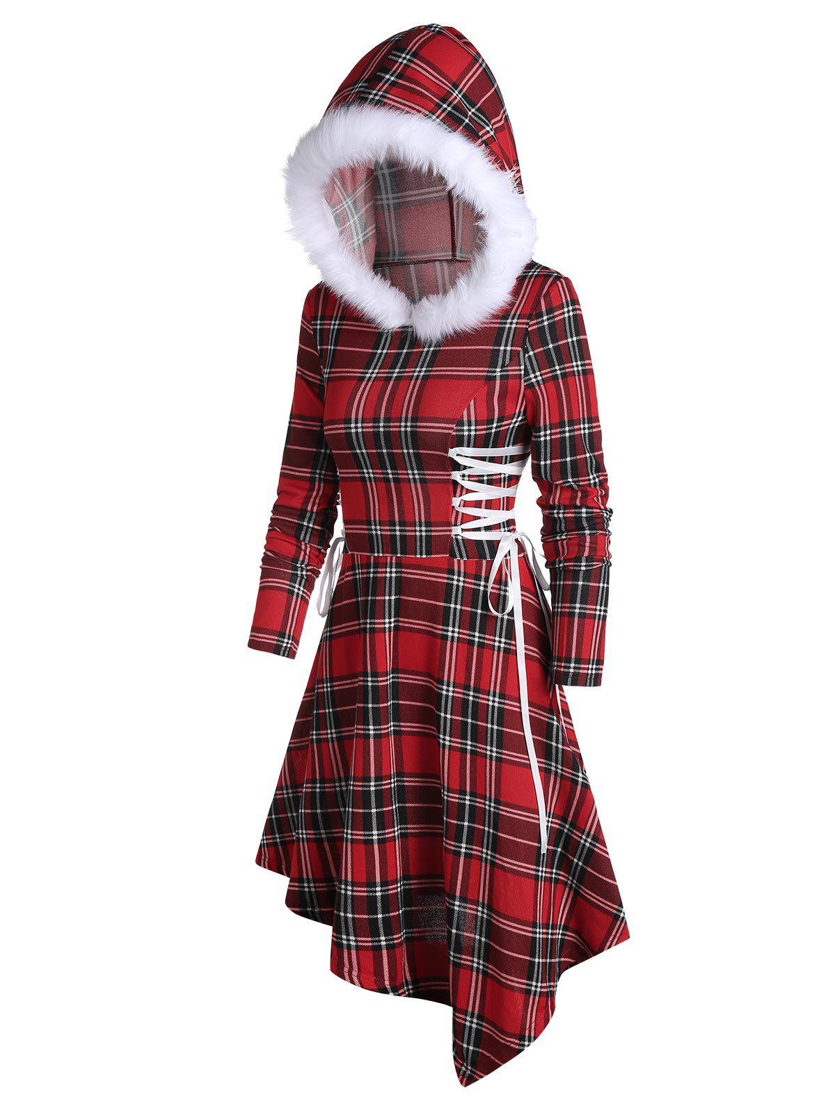 Shop Faux Fur Hooded Plaid Print Lace-up Asymmetric Dress