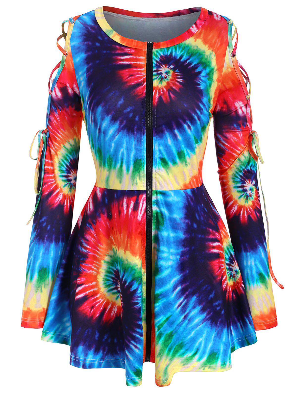 Discount Full Zip Rainbow Tie Dye Lace Up Plus Size Top