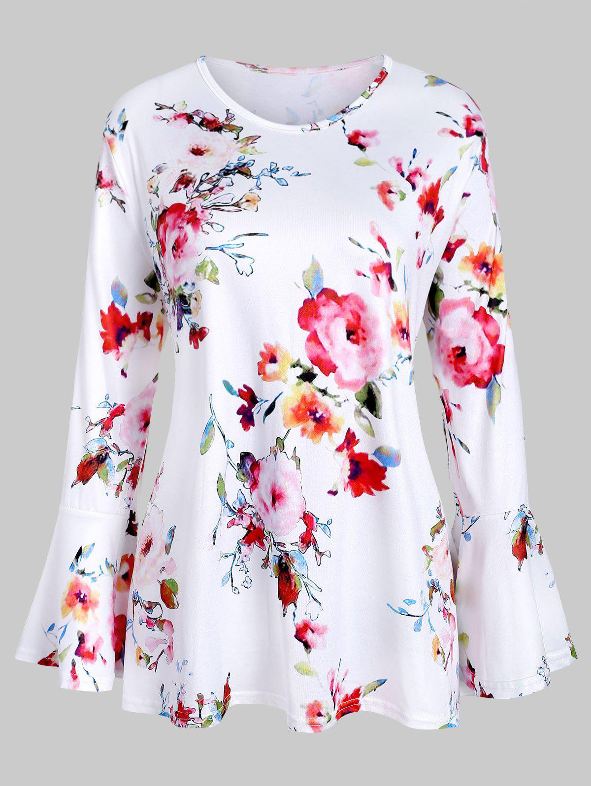 Best Flare Sleeve Floral Print Plus Size Top