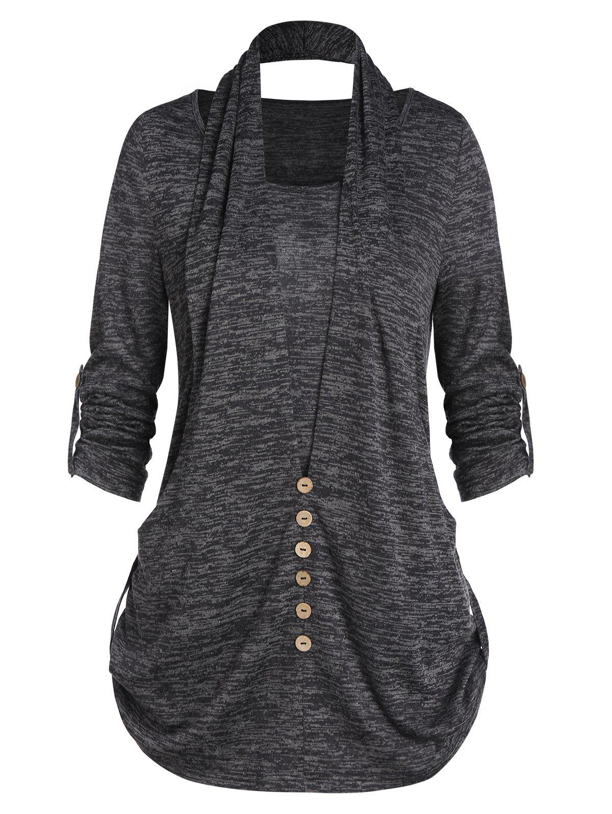 Unique Marled Roll Up Sleeve Buttons T Shirt