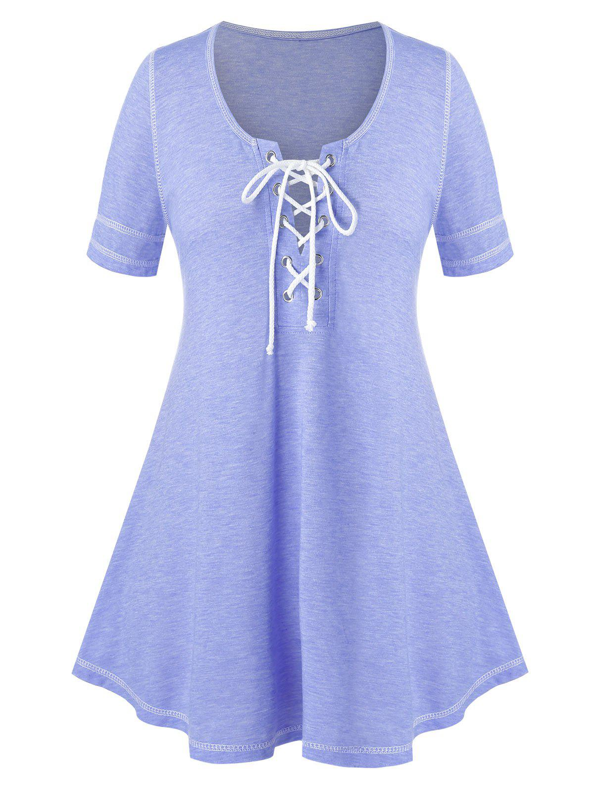 Fancy Plus Size Lace Up Heathered Swing T Shirt