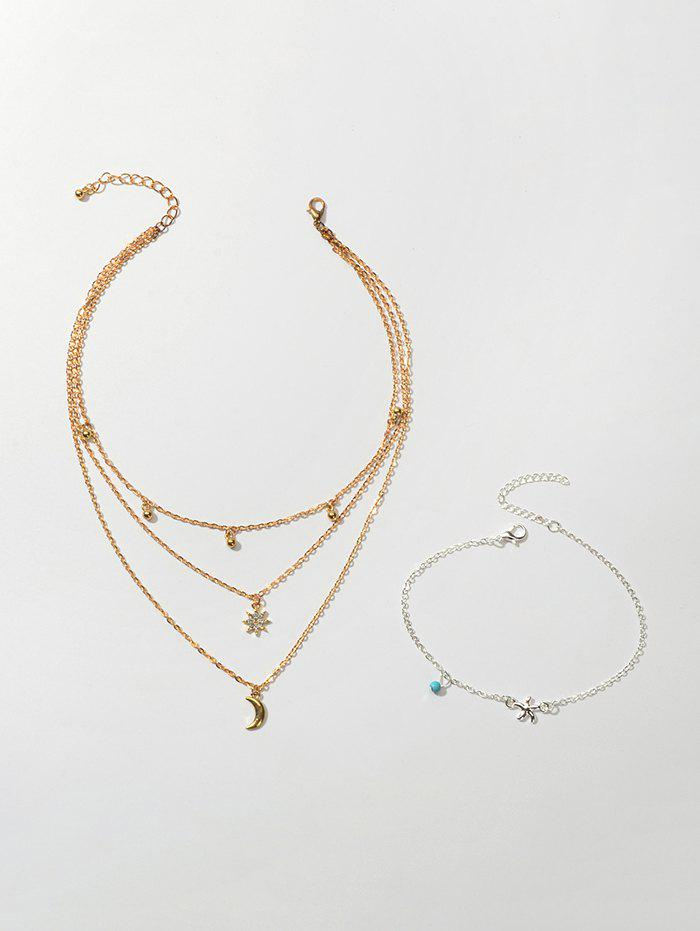 Outfits Star Moon Layers Necklace Beach Anklet Set