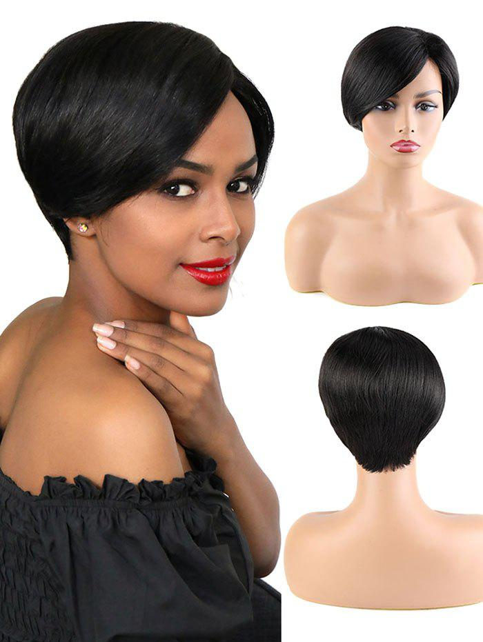 Fancy Side Part Short Straight Human Hair Wig