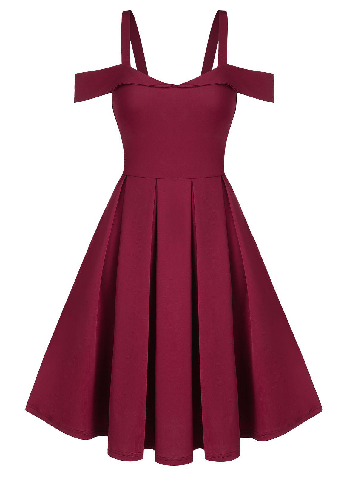 Shop Cold Shoulder Pleated Mini Prom Dress