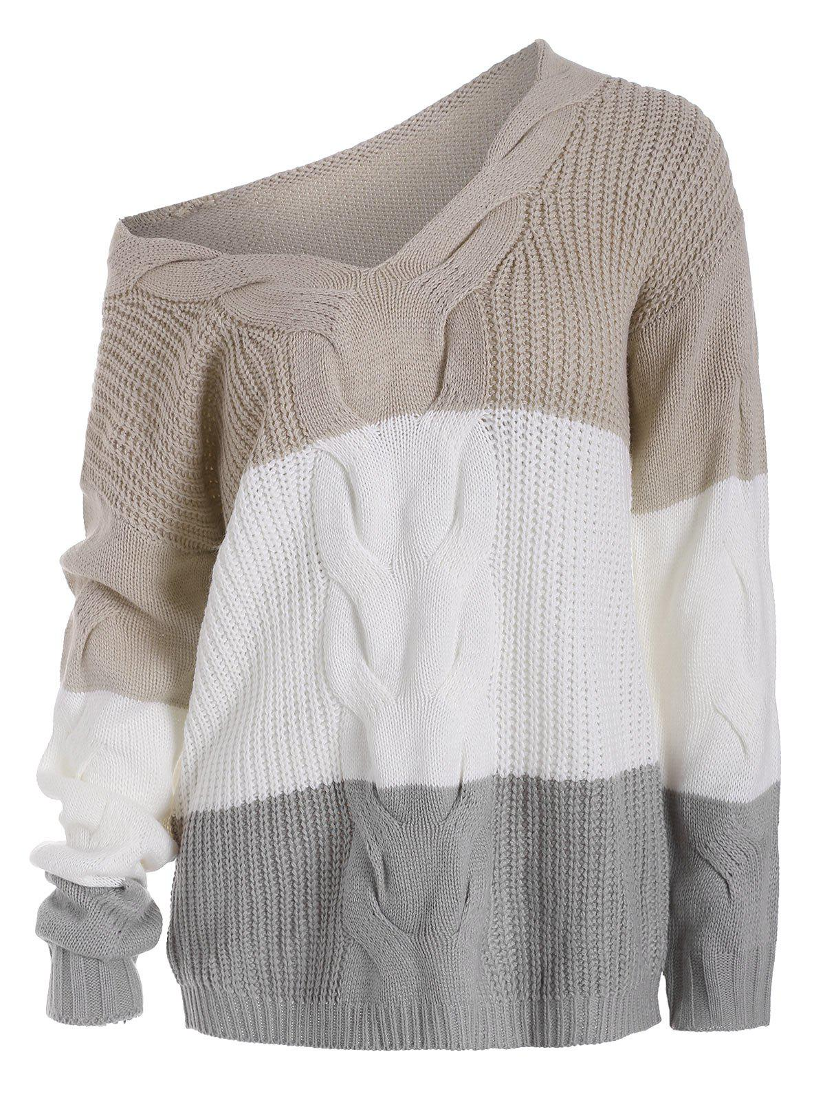 Shop V Neck Cable Knit Colorblock Sweater