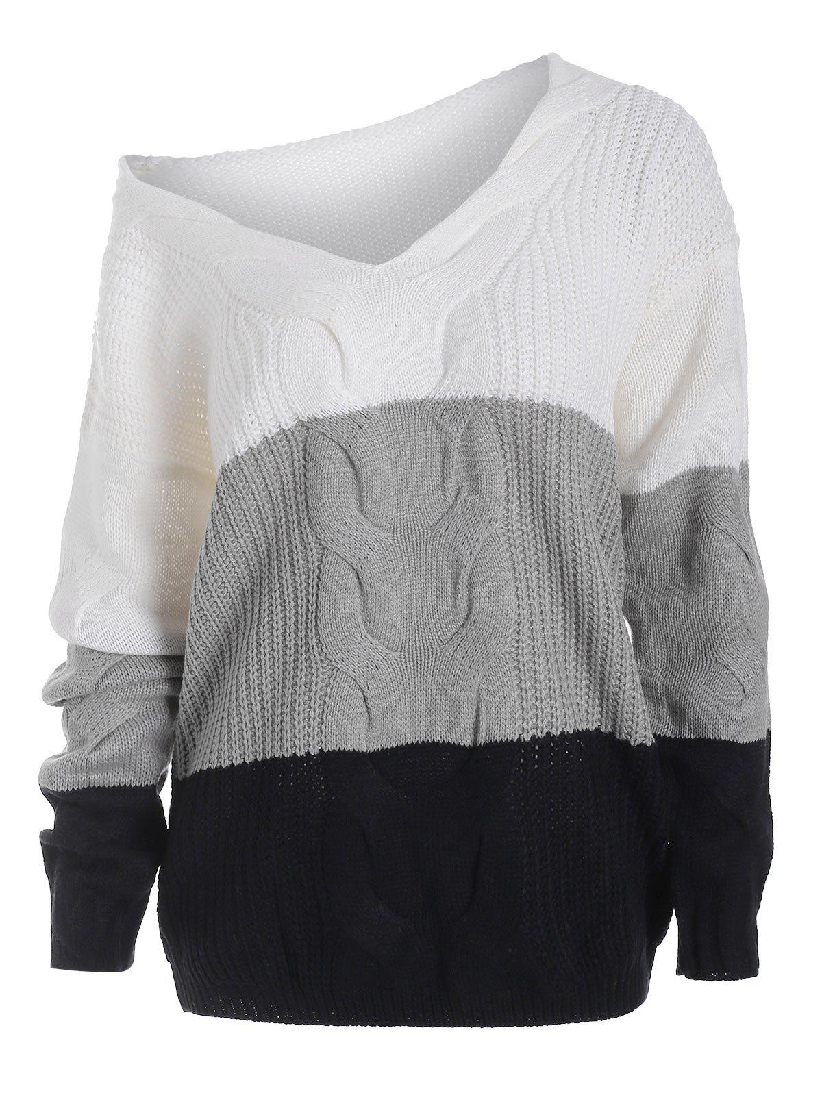 New V Neck Cable Knit Colorblock Sweater