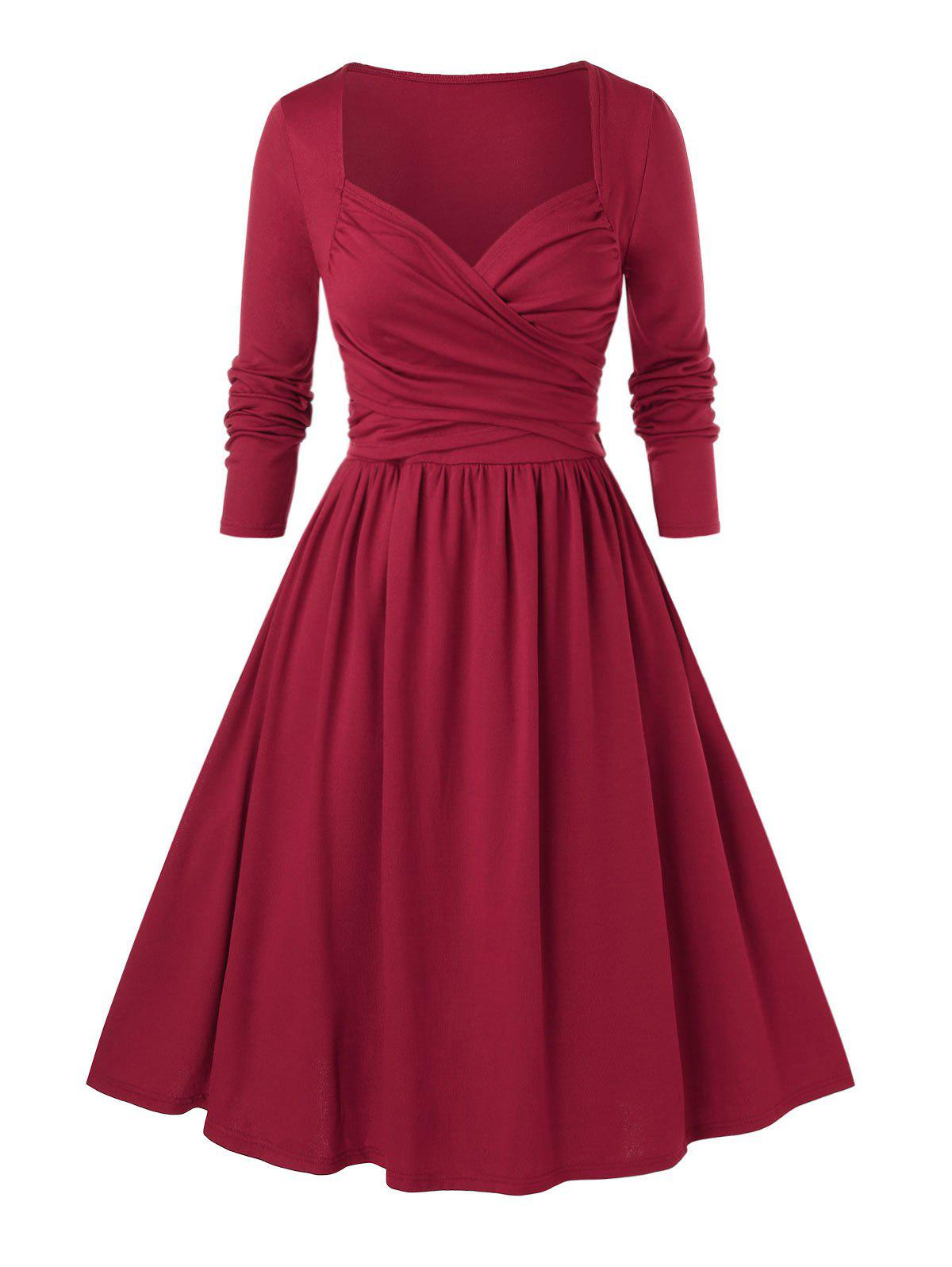 Sale Plus Size Sweetheart Neck Ruched Pin Up Dress