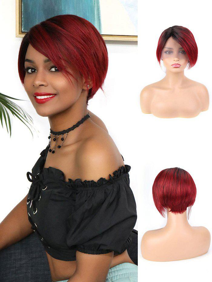 Fashion Human Hair Ombre Red Short Straight Wig
