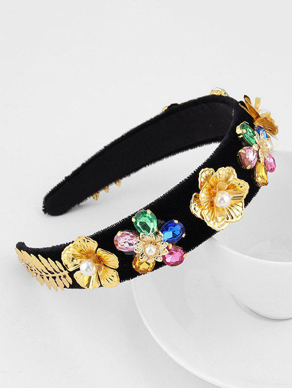 Shop Floral Leaf Rhinestone Faux Pearl Velour Wide Hairband