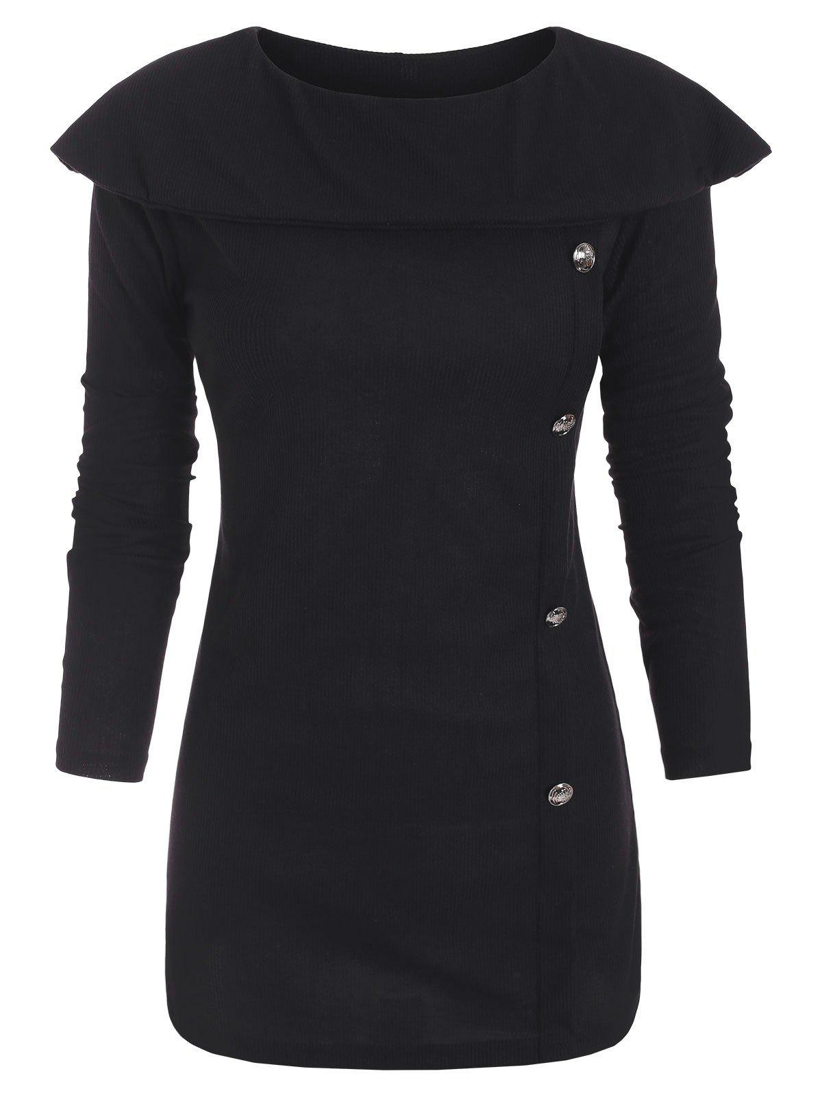 New Mock Buttons Long Sleeves Capelet Knitwear