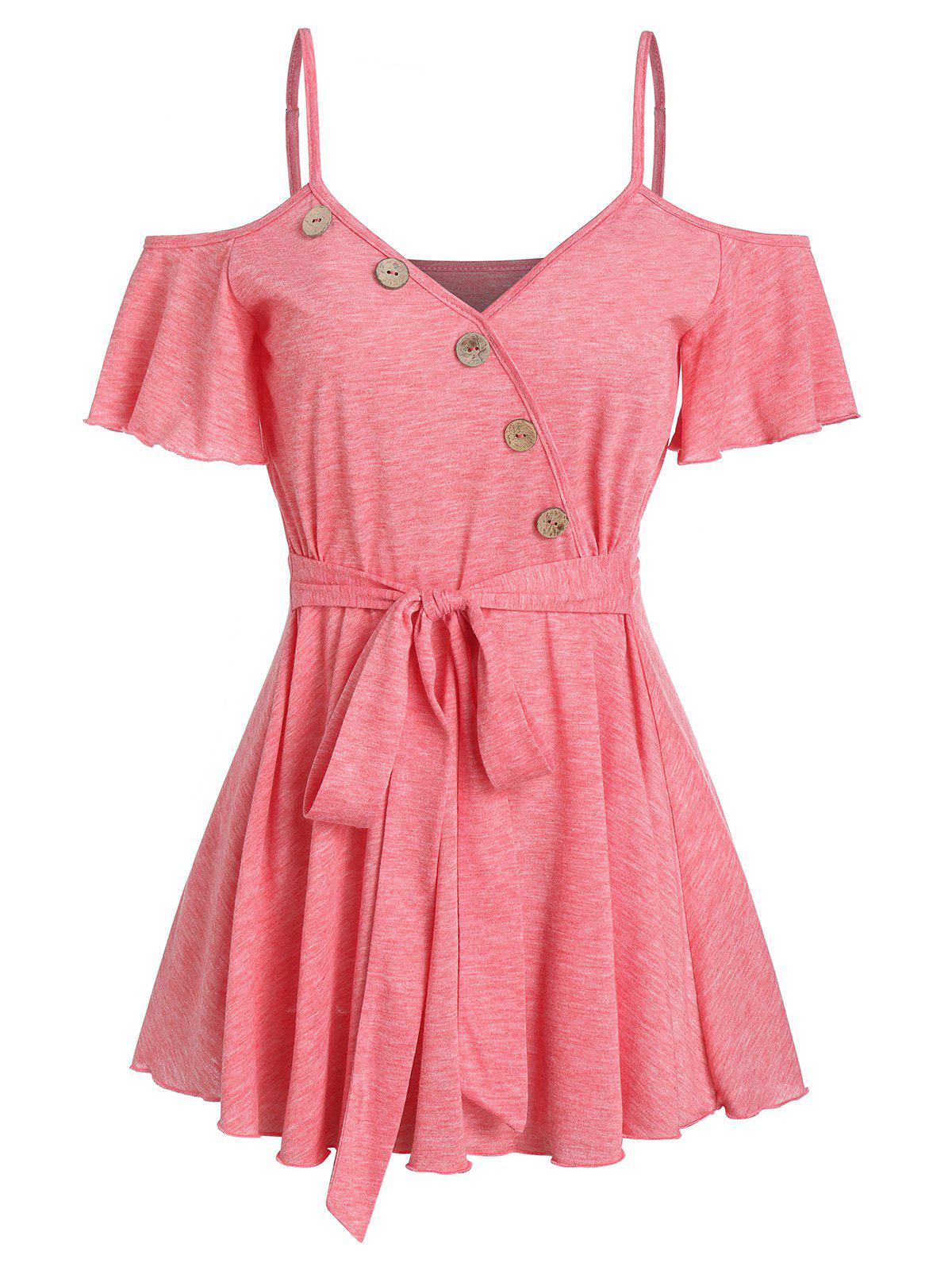 Outfits Cold Shoulder Button Belted Short Sleeve T Shirt