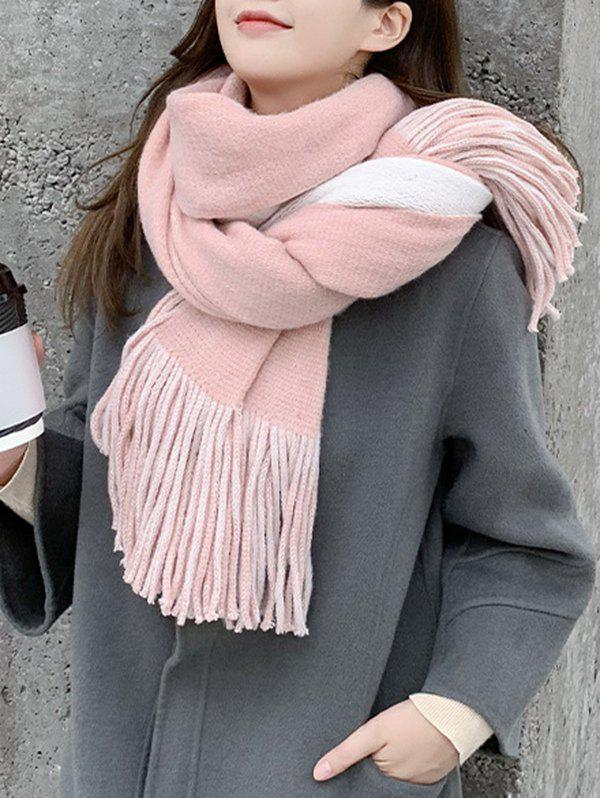 Outfits Two Tone Colorblock Tassel Long Scarf