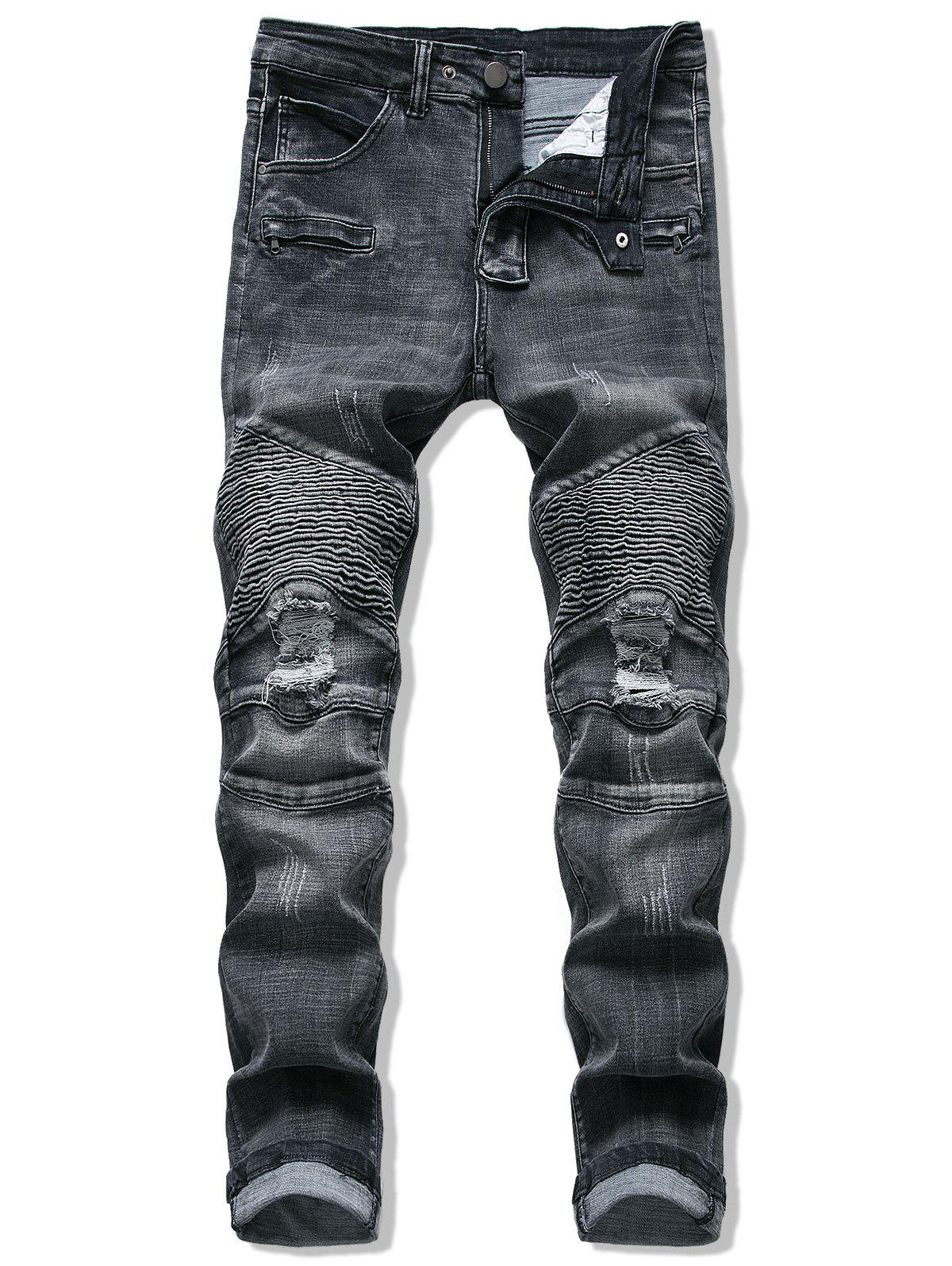 Store Pleated Patchwork Ripped Jeans