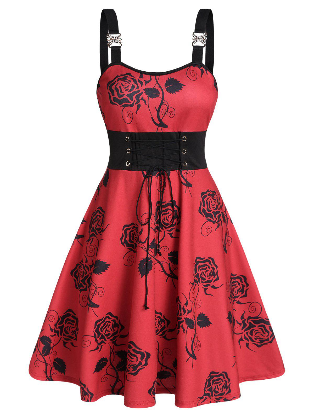 Chic Floral Print Rhinestone Buckle Lace Up Cami Dress