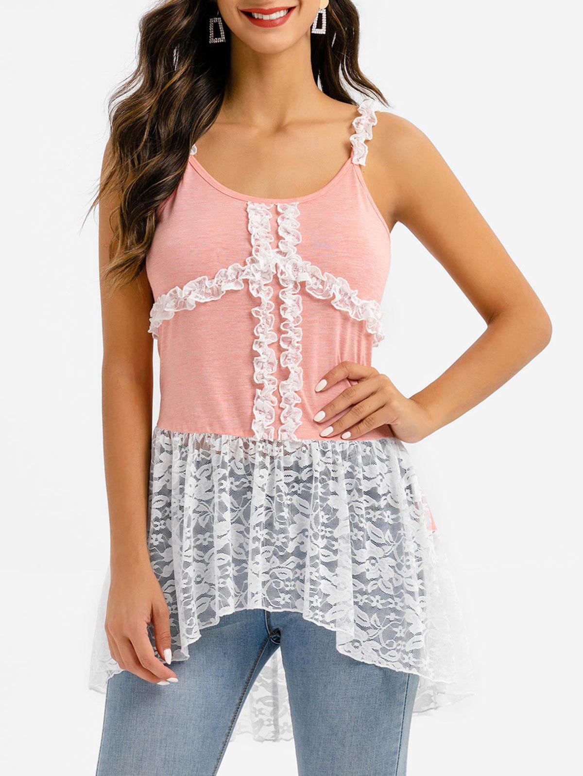 Affordable Frilled Lace Panel High Low Tank Top