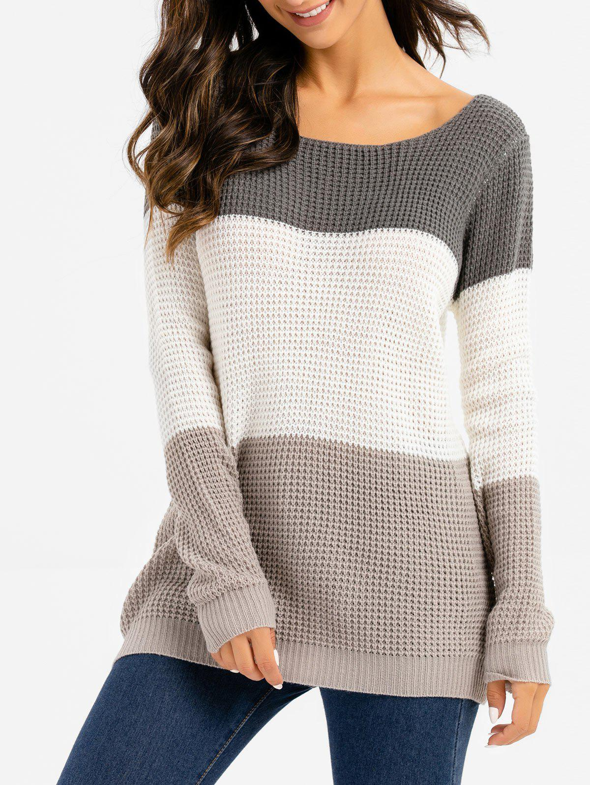 Colorblock Pointelle Pull en maille