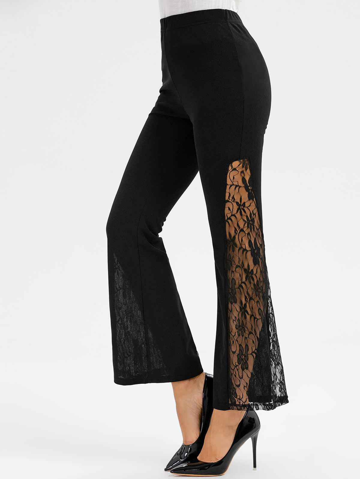 Latest Lace Panel Elastic Waist Flare Pants