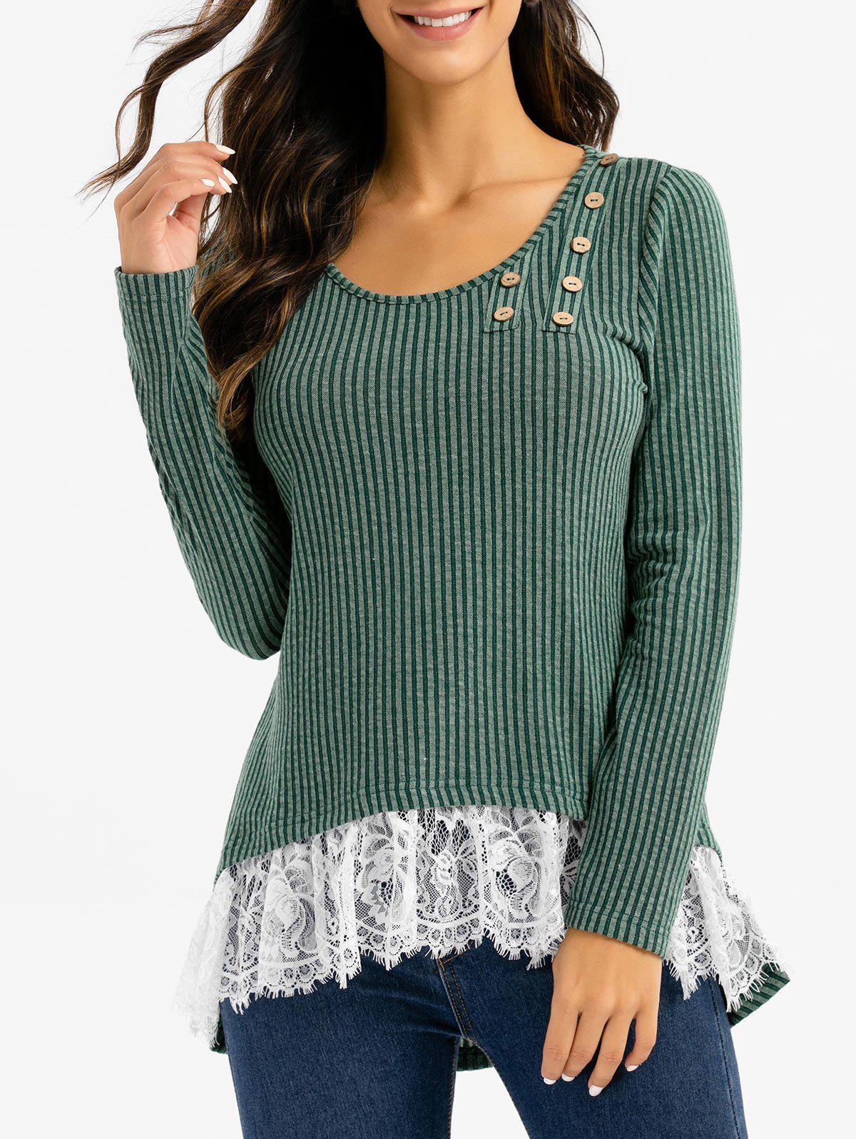 Best Stripe Textured Lace Hem High Low Sweater