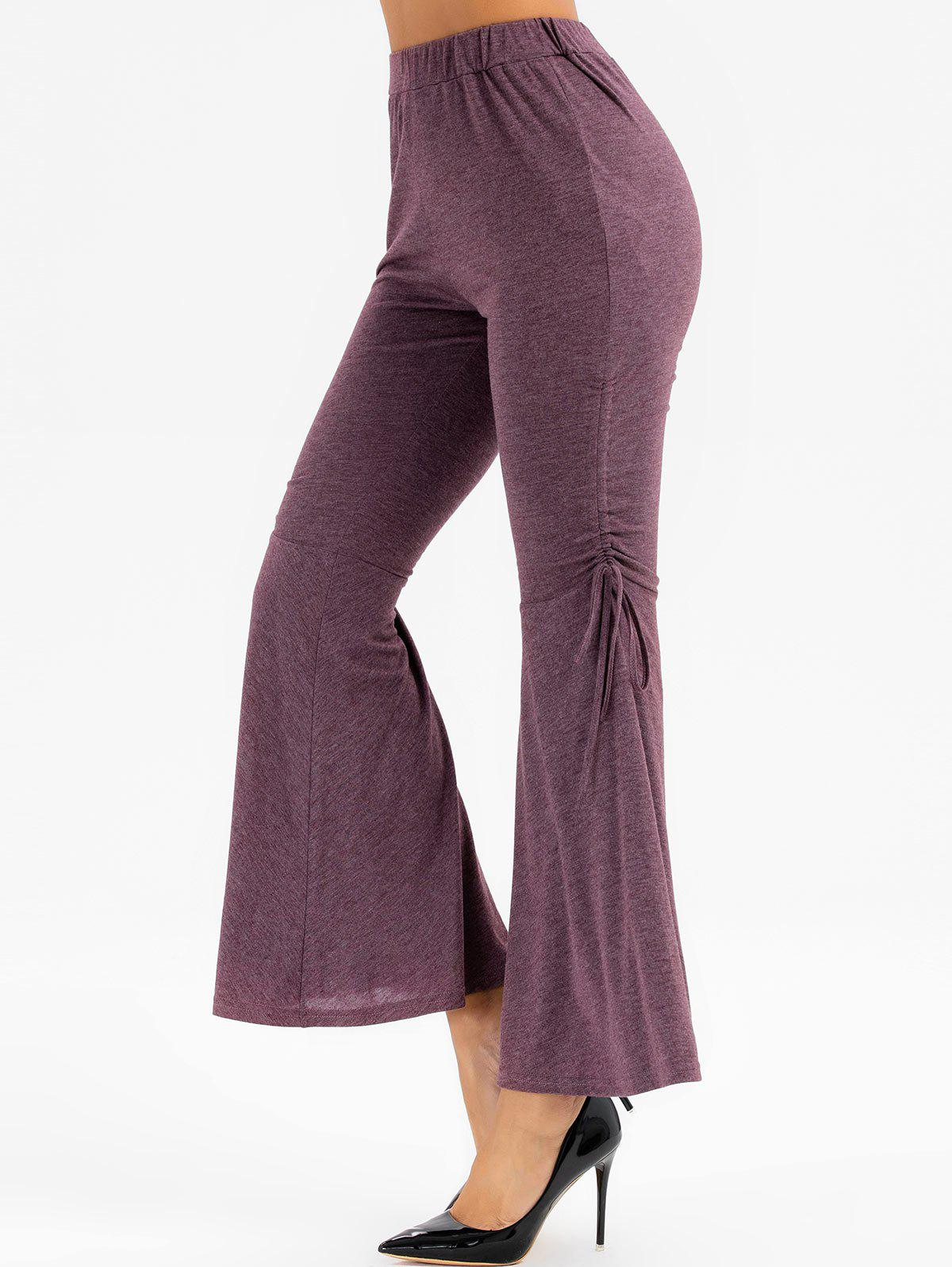 Chic High Waisted Heathered Cinched Flare Pants