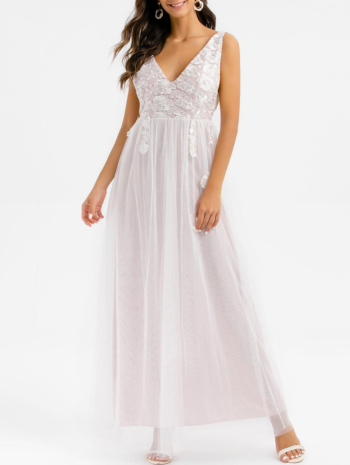 Unique Floral Embroidered Lace Overlay Low Cut Maxi Prom Dress