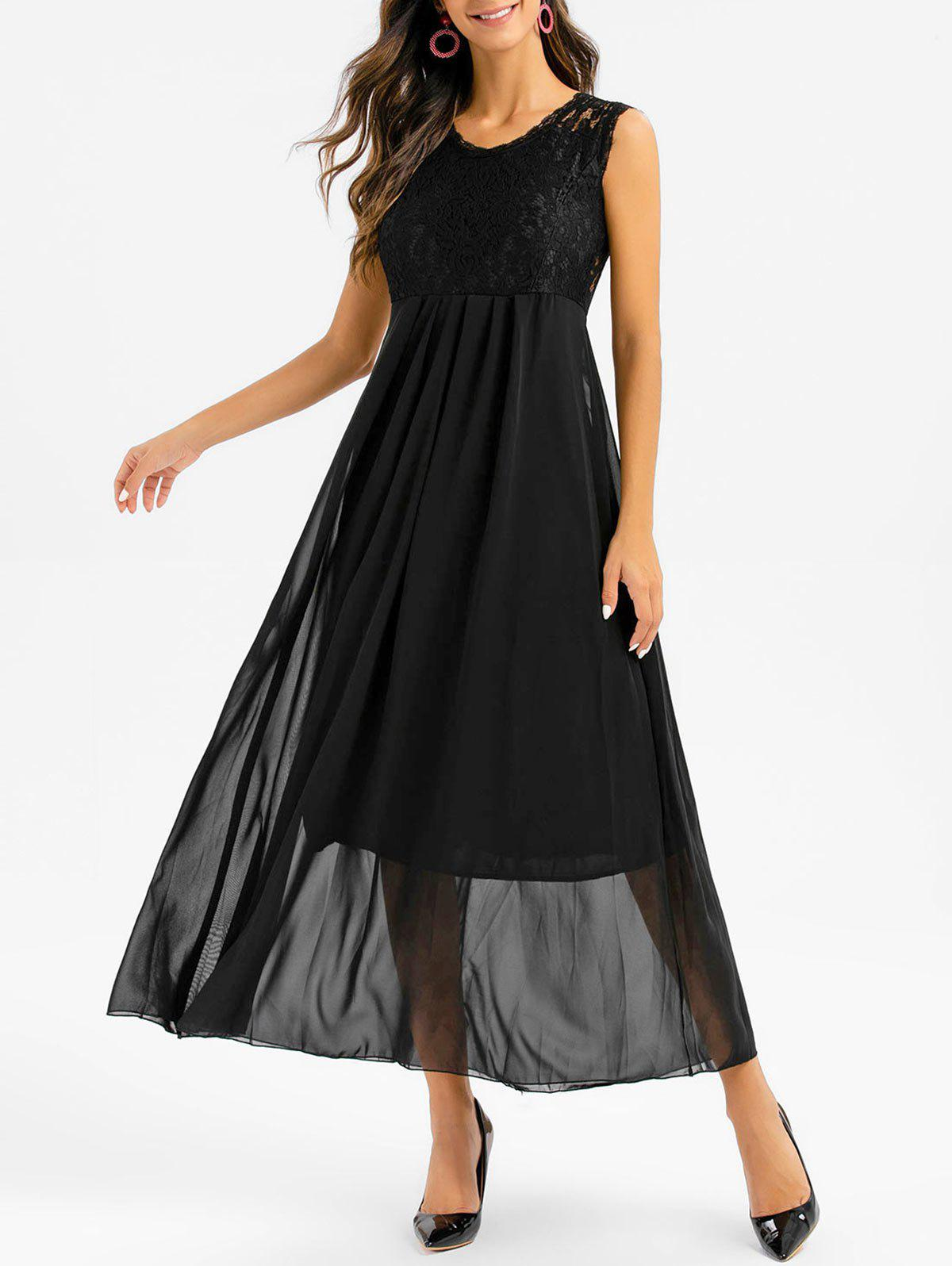 Discount Sleeveless Lace Insert Pleated Maxi Prom Dress