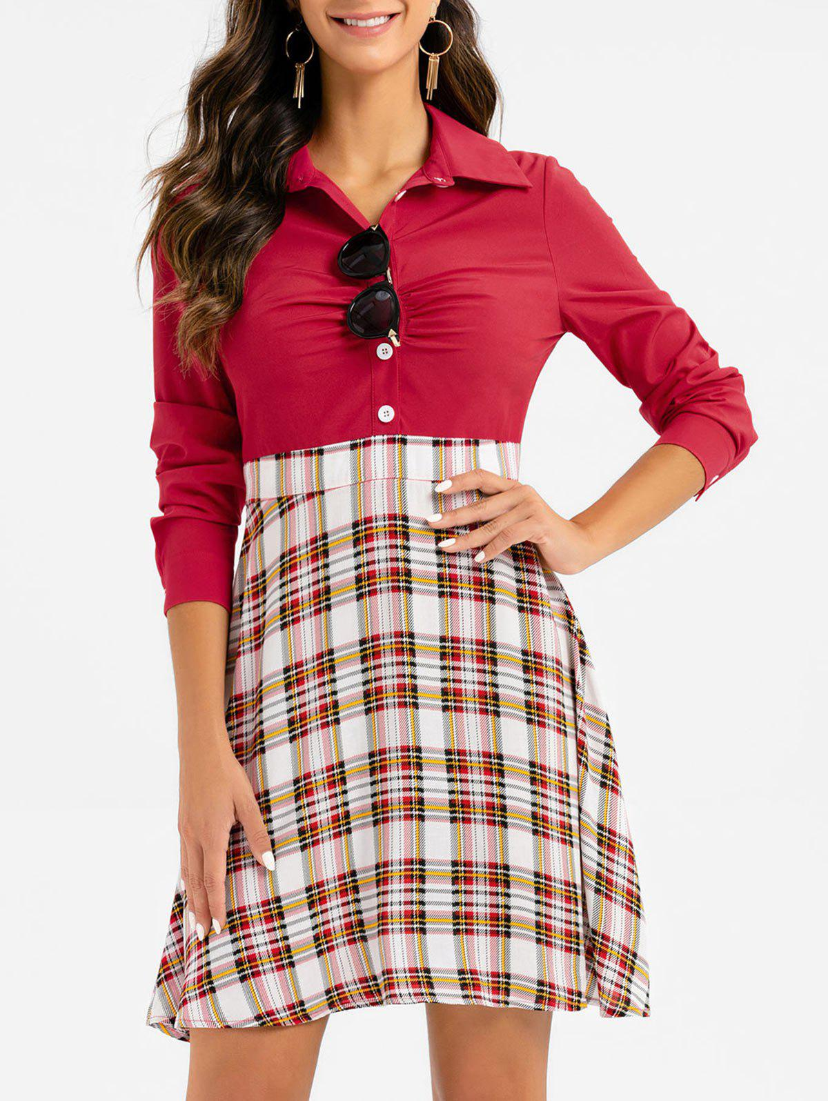 Unique Plaid Print Half Button Mini Flare Dress