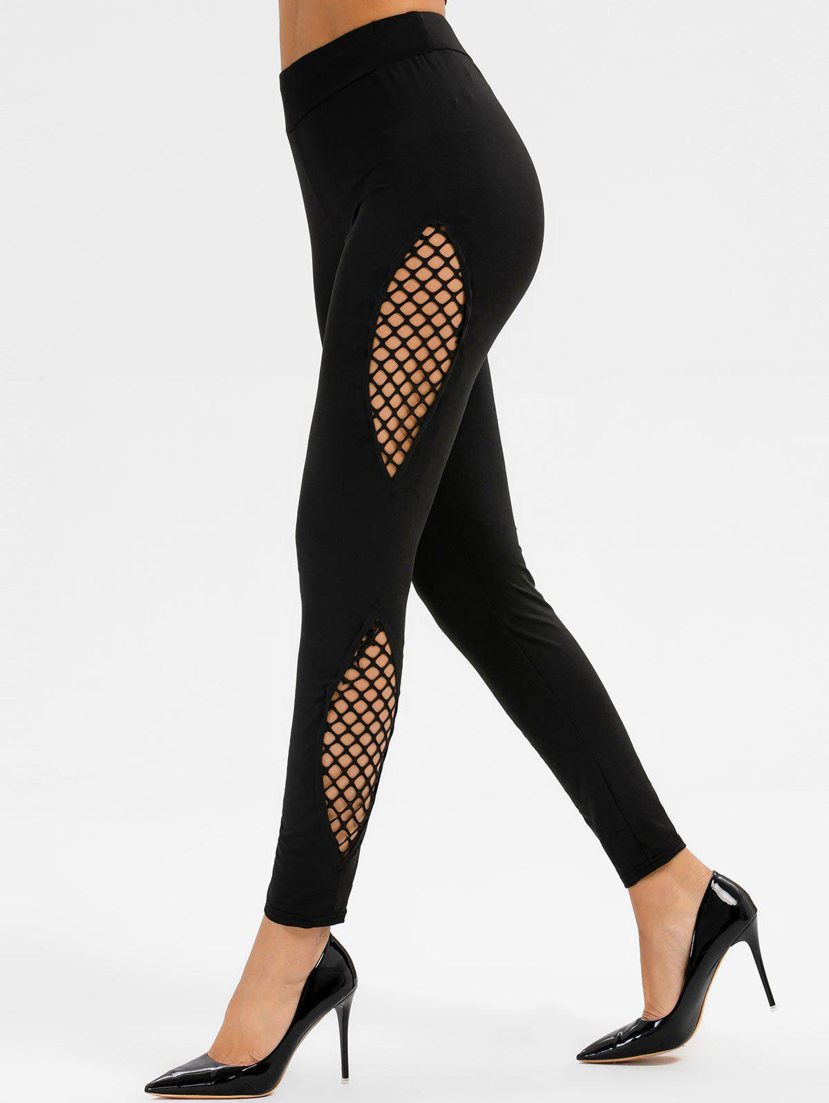 Résille Panel Leggings Maigre Noir XL