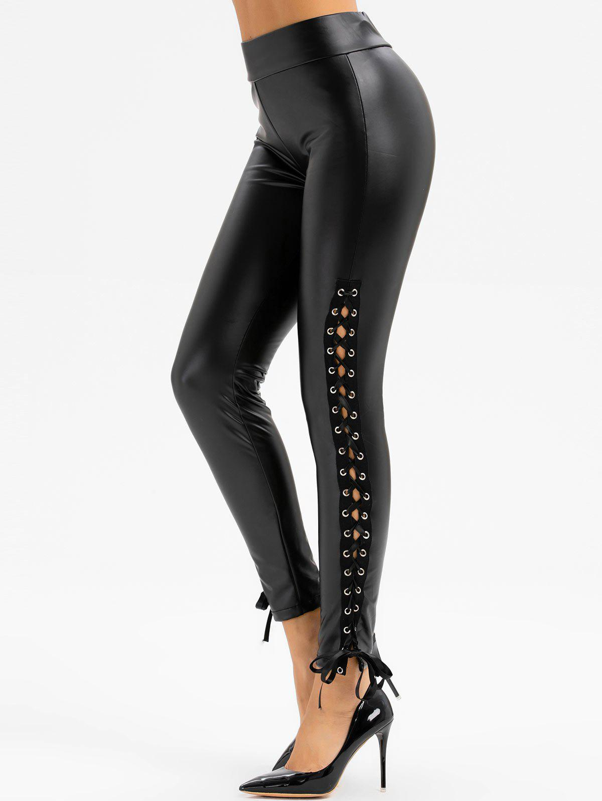 New Lace Up Faux Leather Solid Pants