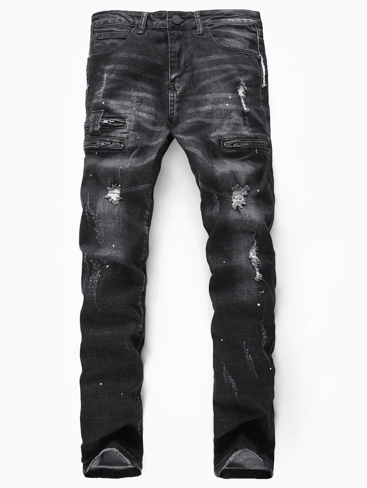 Affordable Destroy Wash Painting Dots Long Jeans