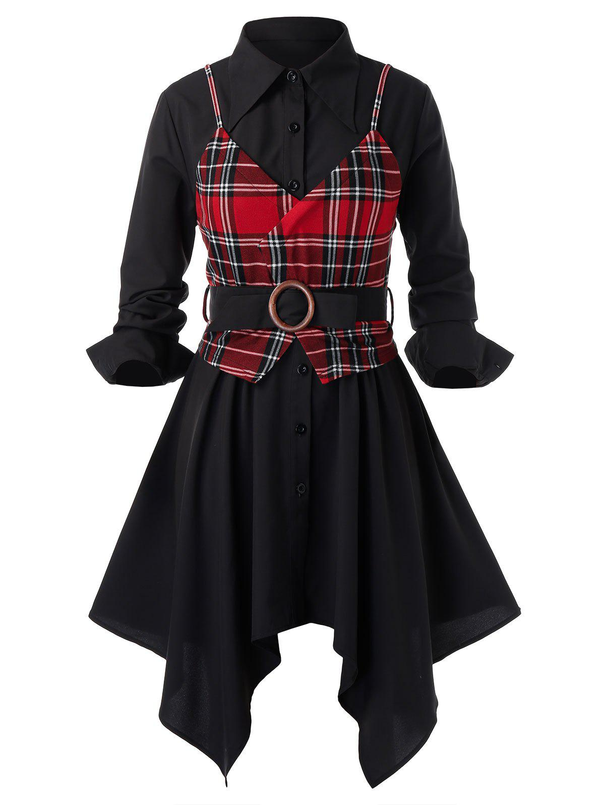 Fashion Plus Size Handkerchief Dress and Plaid Top