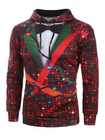 Christmas Sequin Print Faux Tuxedo Front Pocket Hoodie - MULTI - L